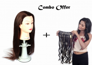 50% Fiber Heat Original Hair Dummy 30 inch Long Soft & 220c Degree tasted Black hair For Curly/Styling/Practice with COMBO OFFER Women Synthetic Hair Extension curly  golden highlight  & 25 inch long (1)