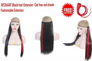 25 Inch Black Straight hair Extension with get free red fashion streak