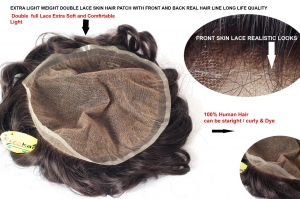 10X7 Full Double Lace European Virgin Human Hair Patch/Toupee for Men, Hair Replacement System Men's Wigs With Soft Thin Lace Hairpiece Cap Dark Brown Color