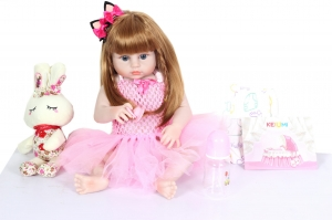 55CM Full Body Soft Silicone Reborn Doll Newborn Toddler Girl  22inch Vinyl Toys Baby Dolls with her toy Accessory