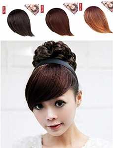 RITZKART Girl's Hair Band With Side Bang Fringe extension for Cute Look, (3 color) available (brown)