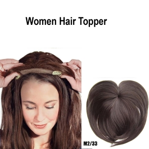 Women Clip-On Hair Topper Wig, silky Heat Resistant Fiber Hair Extension for Women, Hair Crown Toppers for Women Clip Straight Hair Piece Toupee with Thinning Hair (brown33#)