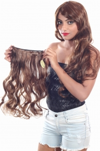 RITZKART 100% soft & shiny curly synthetic hair extension 21 inch long golden brown mix color