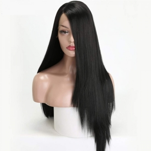 RITZKART 100% Original high quality African synthetic Hair front lace 26 inch long soft & Straight natural Black full head wig