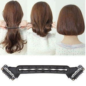 Ritzkart Easily Become BOB Creative Flexible Roller Twist Clip Stick Long to Short Hair Style BOB Maker Hair Tools Hairdisk Insert Hair Pads Base Hair Maker Hairstyle Styling Design Beauty Tool Fashion Accessory (17 cm Big DIY BOB Maker)