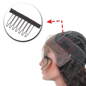 RITZKART Stainless Steel Hair Wig Clip 3.8cm*3cm Wrapped Wig Tooth Combs for Wig Caps Glue less 12 Pc Wig Clips (Black)