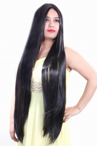 RITZKART 100%soft &silky natural black long synthetic full head wig 690895