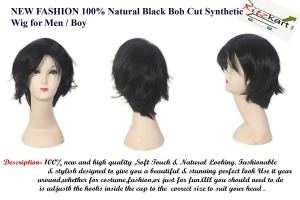 RITZKART NEW Fashion Natural Black Soft & shiny Synthetic Bob Cut full head men wig
