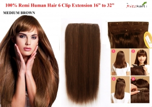 Ritzkart 6 Clip (32 Inch, Medium Brown) Remi Human Soft Hair Extension 16 To 32 Inch