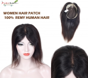 WOMEN HAIR PATCH/ TOPPER  100% REMI HAIR 20INCH NATURAL BLACK WITH SOFT SILK BASE  Get New Look For Bald Area By RITZKART