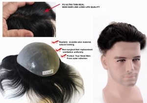 Ritzkart 9x7 PU Ultra thin Hair toupee / Patches / Systems / Wigs for Men 100 % Natural Human Hair Black