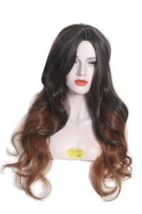 100% soft & silky hair 30 inch golden high light & dark brown mix curly ombera wig