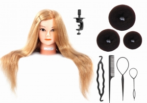 "RITZKART Imported Brand 100% Real Human Hair 27"" Hair Mannequin For Trainers/Spl For Dye/Tong/Braiding with 3 Pieces Hair Donut,1Set(4Pc) Combo of Topsy"