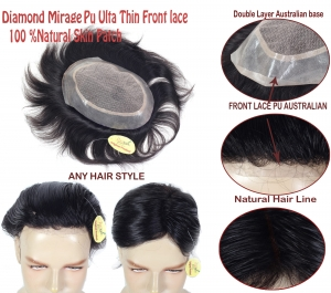 (8x6) 100% Human hair Men patch Diamond Mirage  0.03 ultra Thin Natural Skin PU Front hairLine,With Double Layer skin Hair Wig Non-Surgical Men Hair Replacement System For Long life