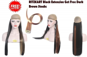 25Inc Black Straight hair Extension get offer dark brown fashion streak