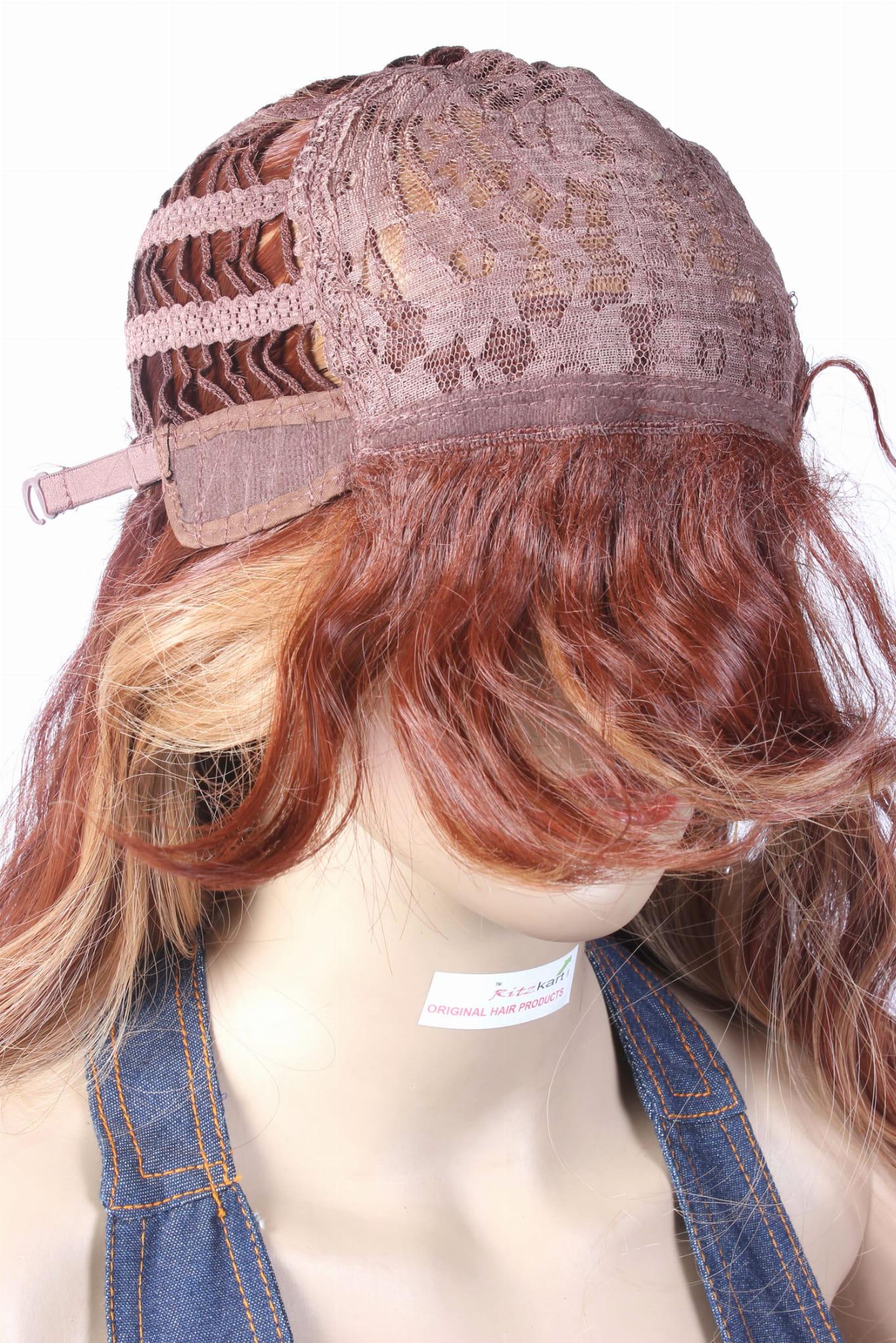 Ritzkart 30 Inch Highlight Synthetic Long Wavy Golden Brown Wig