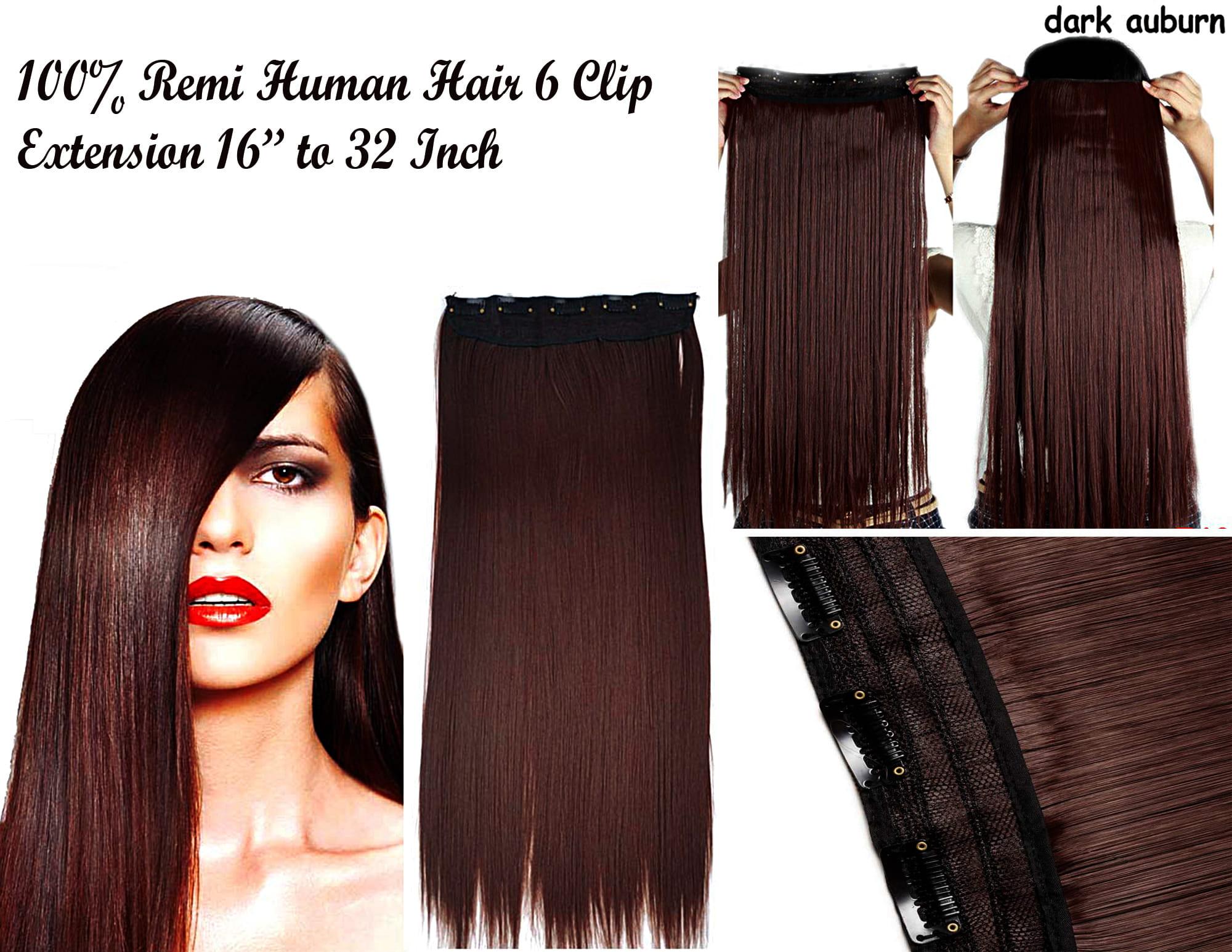 Ritzkart 6 Clip Fine Quality Remi 32 Inch Dark Auburn Human Soft