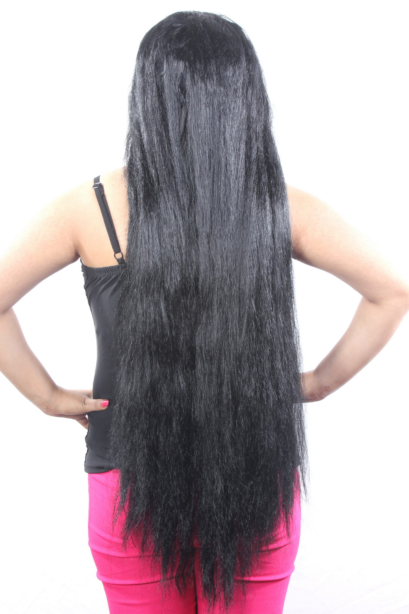 ritzkart 31 inch indian hi long women black hair wig straight long indian  style.