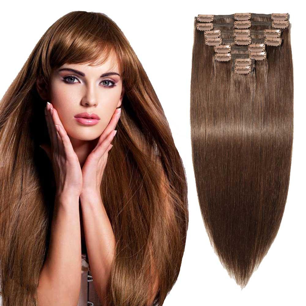 Ritzkart 6 Clip 28 Inch Medium Brown Remi Human Soft Hair