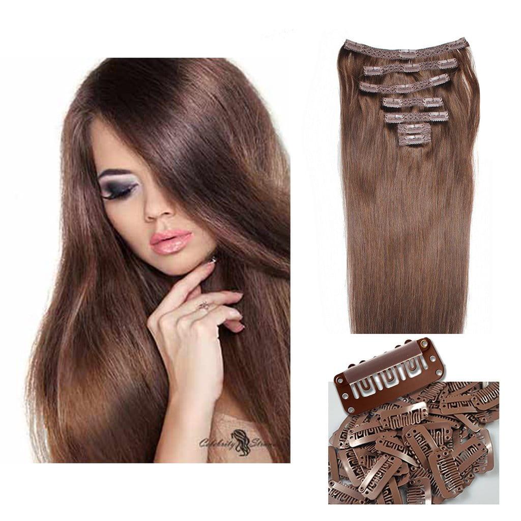 Ritzkart 6 Clip 22inch Medium Brown Remi Human Soft Hair