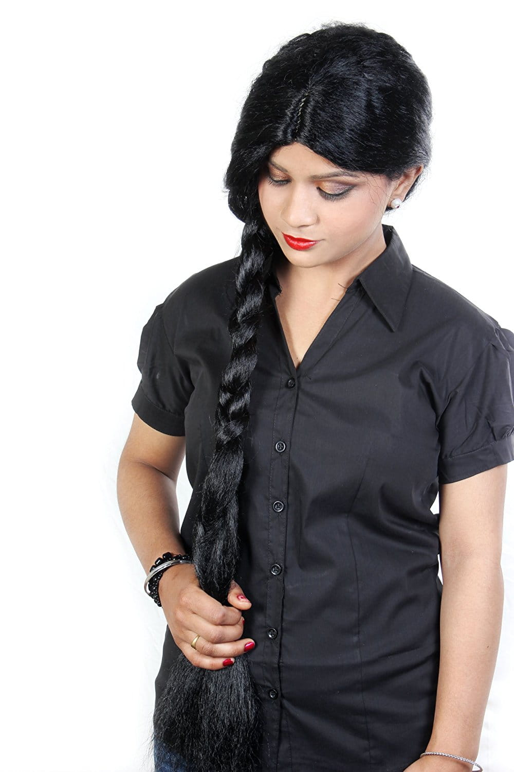 Ritzkart 31 Inch Indian Hi Long Women Black Hair Wig Straight Long