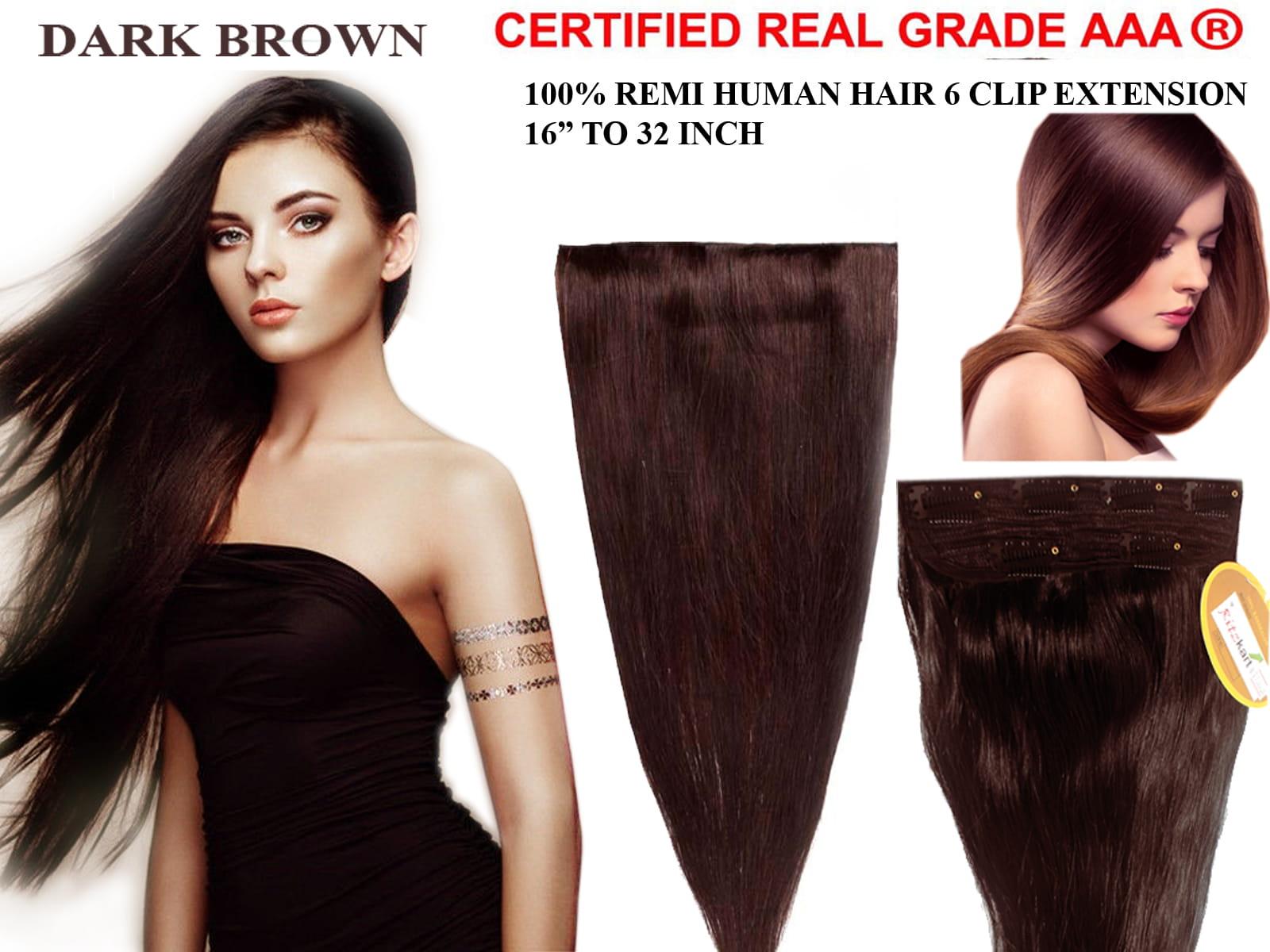 Ritzkart 6 Clip Fine Quality 18 Inch Dark Brown Remi Human Soft