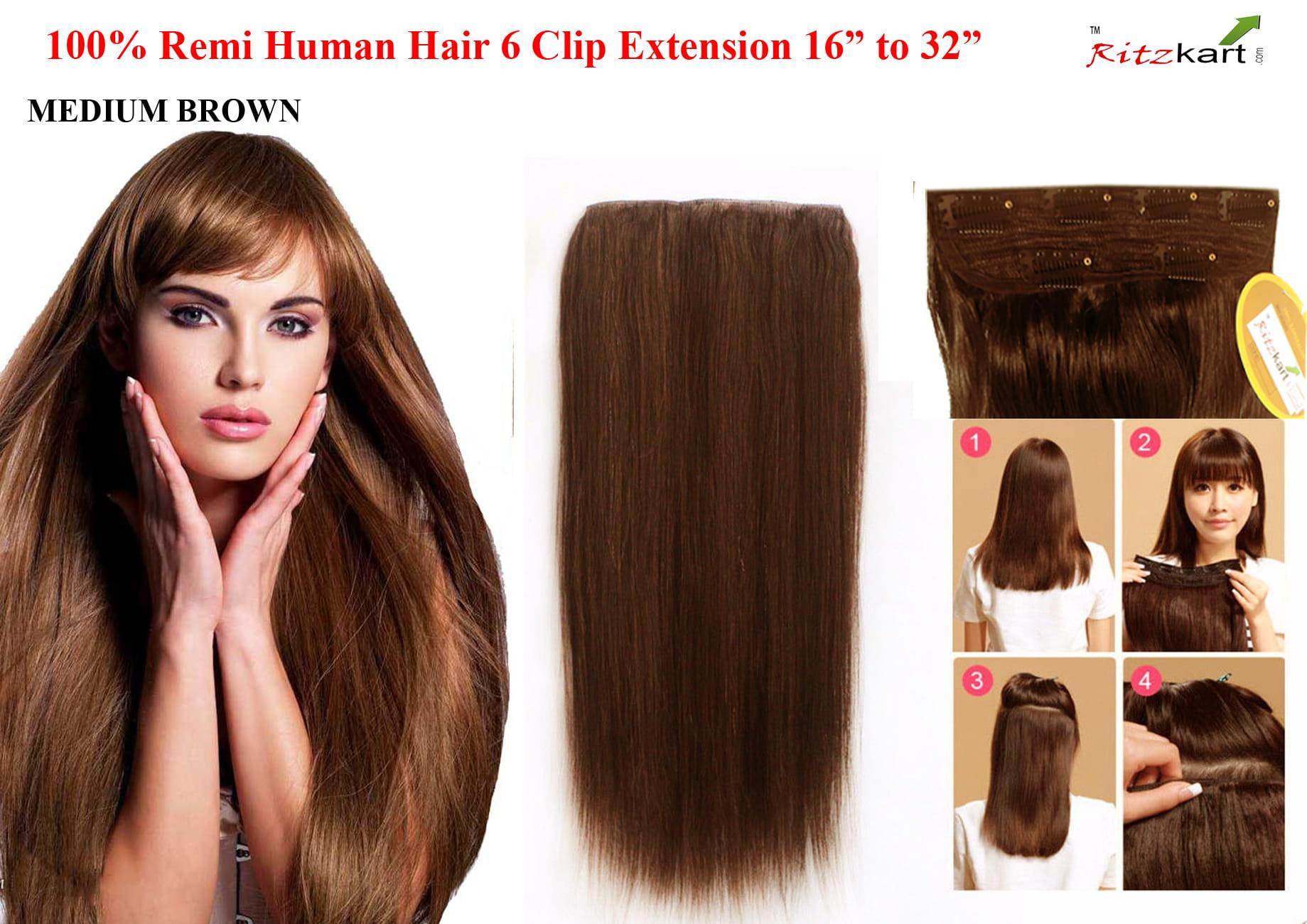 Ritzkart 6 Clip 24 Inch Medium Brown Remi Human Soft Hair